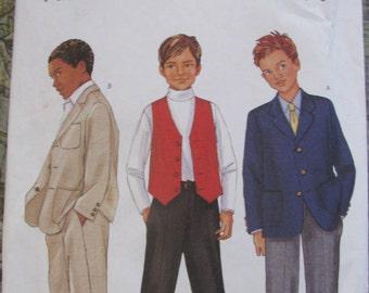 Butterick UNCUT size 7, 8, 10, 12, 14  Boys Plus size Suit - Jacket, Vest & Pants  pattern # 3353