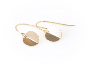 Round gold disc earrings - Half Moon earrings - circle drop earrings - gold coin dangle earrings - gold filled earrings - simple earrings