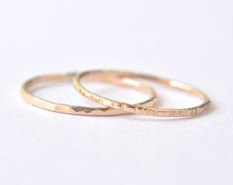 2 Gold stacking rings - hammered grooved or faceted rings - delicate gold filled rings - everyday jewelry - minimalist jewelry / Signe 1mm