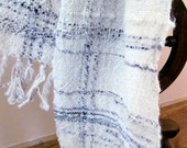 Handspun Handwoven white and plum scarf with texture and free form colour. Alpaca and wool woven SAORI style.