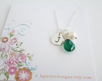 May birthstone necklace, personalized, emerald green onyx, silver initial necklace, silver monogram necklace, freshwater pearl, May Birthday