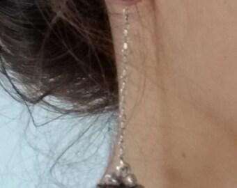 Long Chain Earrings, Long Drop Earrings. Dangle Chain Earrings, Silver Chain Jewelry, Two in One Earrings,  Sterling Silver Jewelry,