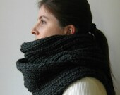 Chunky Knit Scarf in Charcoal Gray Wool - Man - Woman