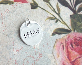 """Sterling Silver mini disc. Hand stamped 1/2"""" pendant. Customize Charm w/Name, Initial, Monogram, Children, Date, Heart. Hypoallergenic metal"""