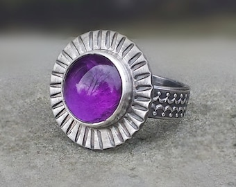 Amethyst Ring, Sterling Silver Statement Ring, Purple Ring, Big Ring, Stamped Flower Ring, February Birthstone Ring