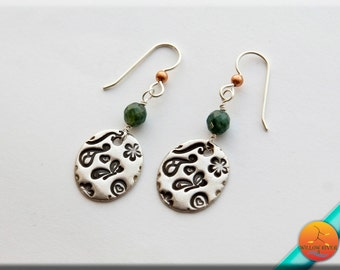 Fine and Sterling Silver Dangle Earrings, with Green Jasper Accent, Light Oval drops entirely hand crafted fine silver,