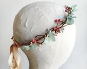 mint headband, coral flower girl, mint flower girl, mint bridal hair piece, mint hair accessory, bridal hair vine, wedding hair accessories
