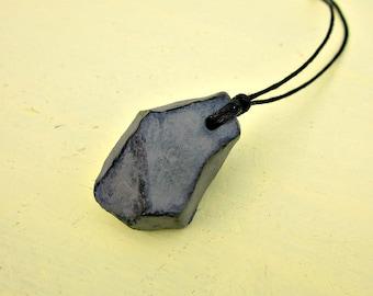 Gray Papier Mache Nugget Pendant on Cotton Cord Necklace: Cliff