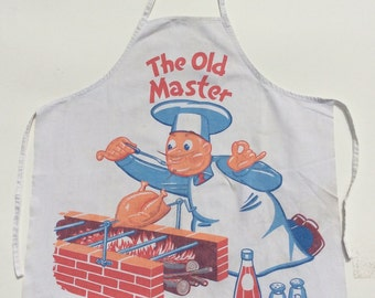 Vintage Apron BBQ Full Bib The Old Master of the Grill