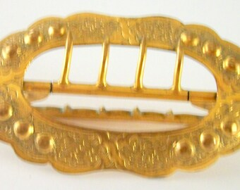 Vintage GILT BELT BUCKLE, Oval shape - Scroll Motif - embossed dots- 4 haps- back plain side attached - natural age patina-  Art Nouveau