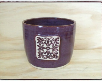 Beautiful Purple Vase/Utensil Holder with Celtic Decoration by misunrie