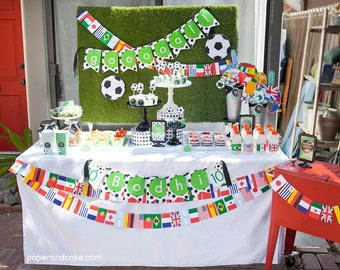 Soccer Fútbol Birthday PRINTABLE Party Collection - You Customize EDITABLE TEXT >> Instant Download << Paper and Cake
