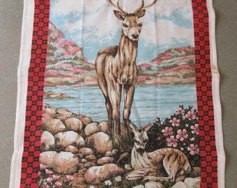 Vintage Tea Towel, Deer Towel, Fragonard Towel, Stag, Woodland Kitchen Towel, Cotton Towel, Dish Towel, Printed Cotton Towel
