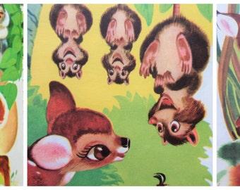 Vintage Book, Bambi, Children's Book, Illustrated Book, Walt Disney Bambi, Big Golden Book, Felix Salten, Child Book Library, Large Hardback