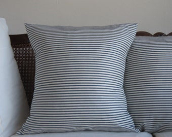 """Navy and white Stripe Cushion Cover - Size 45cm x 45cm  (18"""" x 18"""")"""