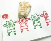 cheerful teddy bear stamp. bear cub hand carved rubber stamp. woodland animal stamp. scrapbooking. gift wrapping. diy birthday baby shower