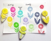 garden flower hand carved rubber stamp. woodland stamp. diy birthday thank you. gift wrapping. spring scrapbooking. handmade stationery