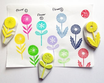 garden flower hand carved rubber stamp. woodland stamp. diy birthday thank you. gift wrapping. spring scrapbooking