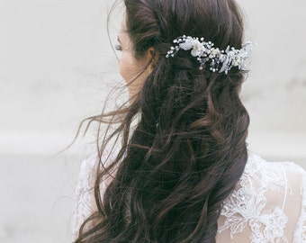 Bridal Headpiece , Wedding Hair Piece, Large Bridal Hair Comb  , Bridal Hair Accessories, Wedding Swarovski Opal Crystal Pearl Headpiece