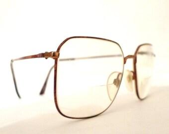 Big Safilo Urban Camouflage Italian Eyeglasses Frame Italy VTG 70s 80s Square Aviator Metal Sunglasses American Hustle Faux Tortoise Marble