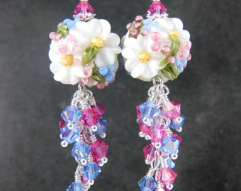 White Floral Earrings, Pink Blue Crystal Dangle Earrings, Cottage Chic Jewelry, Nature Earrings, Lampwork Earrings Pretty Earrings Botanical