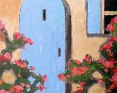 Impressionist Plein Air Painting PROVENCE Courtyard Garden BLUE DOOR Villa Landscape Art 16x20 Lynne French