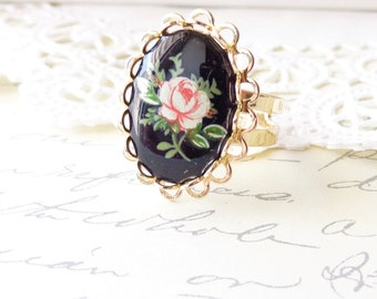 Vintage Pink Rose Limoges Lace Ring - Gold Ring - Vintage pink Cameo - Black Limoges - Lace Edge - adjustable Ring - Shabby Chic