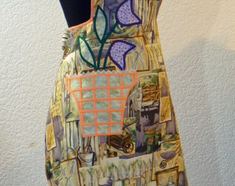 Vintage Inspired 1940's Garden Shed Print Apron With Appliqued Flower Pot Pocket Full Apron