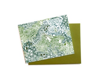 Blank Thank You Note Hen and Chicks Succulent Cluster,  Everyday Greeting Card