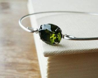 Olive Green Glass Jewel Silver Charm Bangle . Stackable Silver Bracelet . Stacking Olivine Gem Bangle Bracelet