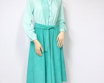 Dress Vintage Shirtwaist Dress 1970's Day Dress Secretary Church Dress Full Skirt Dress Turquoise Size 10
