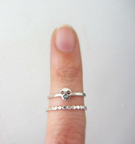 Little skull ring sterling silver, stacking ring set, baby skull, dainty sugar skull