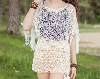 Cotton Handknitted Boho Chic Tunic, Boho Gipsy Wrap, Laces Bohemian Top, Beach Girl, Summer Boho Top