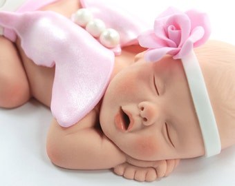 Butterfly Baby Cake Topper Sugar Paste with Pink & White Butterfly Wings by lil sculpture