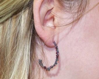 Half Hoop C Earrings Crushed Garnet & Spectral Hematite Argentium Silver .930 20 GA