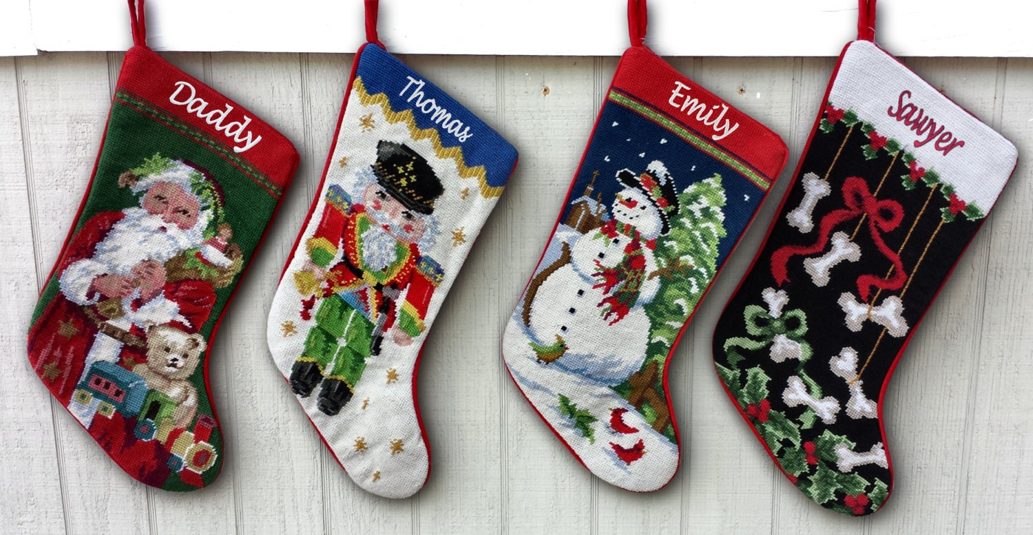 Needlepoint Christmas Stockings Personalized Santa By Eugenie2