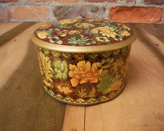 Vintage Tin - Made in England Floral Designed by Daher Metal Container with Lid