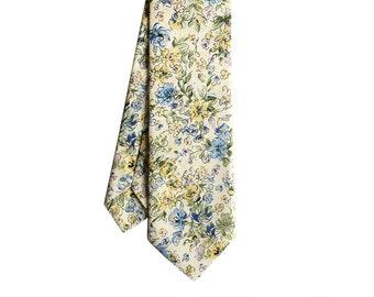 Ella - Yellow/Blue Floral Men's Tie, Skinny Tie