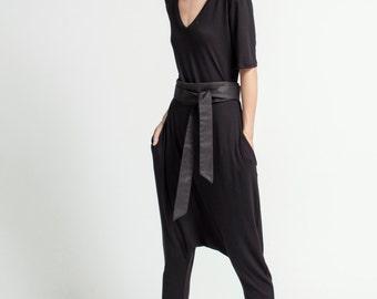 Black Jumpsuit / Women Harem Pants / Black Asymmetric Romper / Extravagant Jumpsuit / Black Romper / Marcellamoda - MP0376