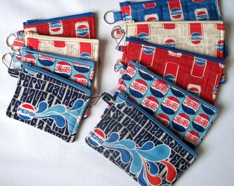 Quilted, Pepsi Fabrics,Coin/Change Purse with Key Chain,Your choice of Design.Zippered Pencil Pouch