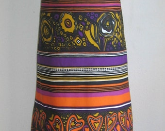 60s 70s vintage  hearts Neon psychadelic flower power maxi dress