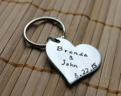 Wedding Anniversary Heart Keychain - Hand Stamped Key chain Couple and Date