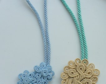 Moroccan soutache art silk , handmade purse charms, accessories, beige and pale blue, set of 2
