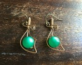 Vintage 1940's sword dagger earrings -  green moonstone earrings - epsteam -gothic - Medeival - Sword Earrings - Renaissance jewelry