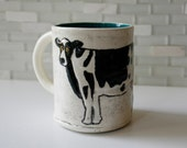 Cow Mug | dairy farm cow coffee mug tea cup | black and white with teal green interior | made to order