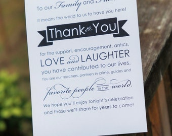 Instant Download Graphic Wedding Thank you sign - Keepsake thank you wedding sign - Printable