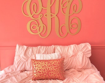 """Monogram Decor for Wall Extra Large Monogram Sign 30"""" Tall Personalized Hanging Letters Wall Decor for Home or Wedding (Item - MNO300)"""