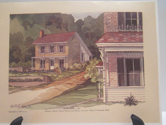 Vintage Watercolor Image Of Delaney House Stone Vernacular