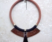 StayGoldMaryRose - Large vintage ceramic cypher-arch statement neck piece in rusty brown glaze.
