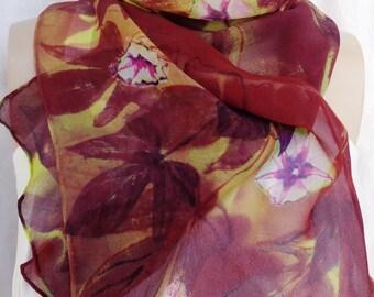 silk scarf chiffon long Sweet Potato Vine hand painted unique chartreuse purple ruby wearable art women fashion